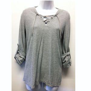 MICHAEL MK | Gray Laced Up 1/2 Sleeve Shirt EUC